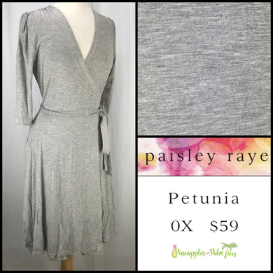 Paisley Raye Petunia Dress, Gray Heathered 0X, shop this Paisley Raye Petunia Dress and more at pineapplesandpalmtrees.net or locally in the Twelve Bridges Community of Lincoln, California.