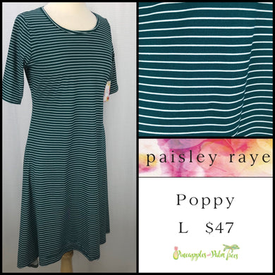 Paisley Raye Poppy Dress, L Green/White Stripes, shop this Paisley Raye Poppy Dress and more at pineapplesandpalmtrees.net or locally in the Twelve Bridges Community of Lincoln, California.