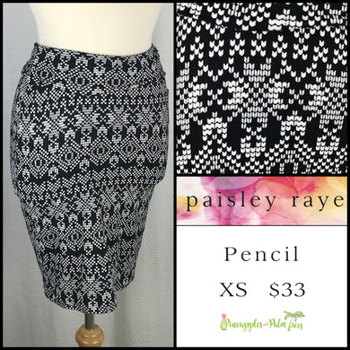 Paisley Raye XS Pencil Skirt in Black/White Print, shop this Paisley Raye Pencil Skirt and more at pineapplesandpalmtrees.net or locally in the Twelve Bridges Community of Lincoln, California