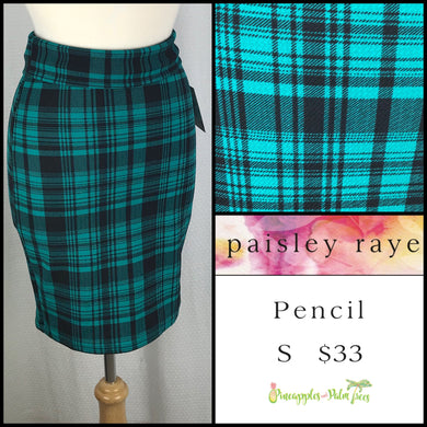 Paisley Raye S Pencil Skirt in Black/Green Plaid, shop this Paisley Raye Pencil Skirt and more at pineapplesandpalmtrees.net or locally in the Twelve Bridges Community of Lincoln, California