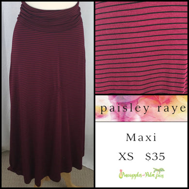 Paisley Raye Maxi Skirt XS Burgundy with black Stripes, shop this Paisley Raye Maxi Skirt and more at pineapplesandpalmtrees.net or locally in the Twelve Bridges Community of Lincoln, California.