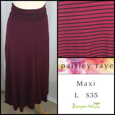 Paisley Raye Maxi Skirt L burgundy with black stripes, shop this Paisley Raye Maxi Skirt and more at pineapplesandpalmtrees.net or locally in the Twelve Bridges Community of Lincoln, California.