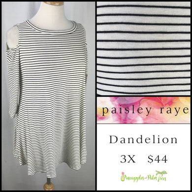 Paisley Raye Dandelion 3X White/Black Stripes, shop this Paisley Raye Dandelion Top and more at pineapplesandpalmtrees.net or locally in the Twelve Bridges Community.Lincoln, California.