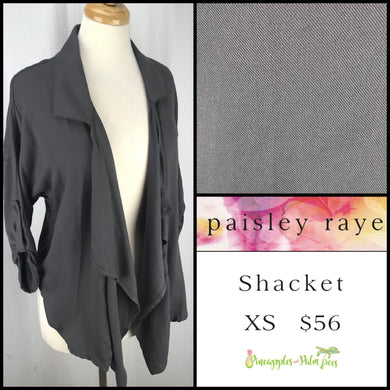Paisley Raye Shacket solid Gray XS, shop this Paisley Raye Shacket and more at pineapplesandpalmtrees.net or locally in the Twelve Bridges Community of Lincoln, California.