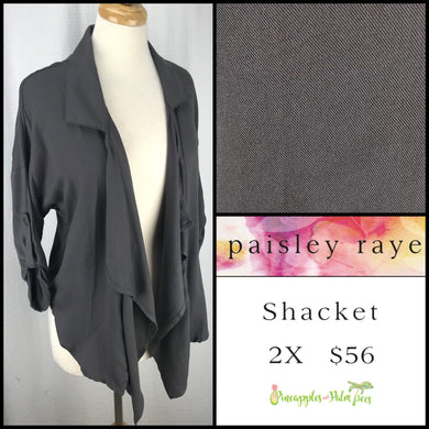 Paisley Raye Shacket solid Gray 2X, shop this Paisley Raye Shacket and more at pineapplesandpalmtrees.net or locally in the Twelve Bridges Community of Lincoln, California.