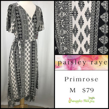 Load image into Gallery viewer, Paisley Raye Primrose M Black/White Geometric Stripes, shop this Paisley Raye Primrose Dress and more at pineapplesandpalmtrees.net or locally in the Twelve Bridges Community of Lincoln, California.