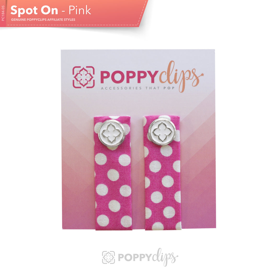 PoppyClips Accessory Pink and White with Silver
