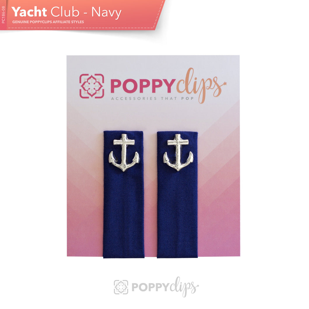 PoppyClips Accessory navy with Silver Anchor