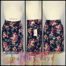 Load image into Gallery viewer, Shop beautiful Paisley Raye Pencil Skirts and more at pineapplesandpalmtrees.net or locally in the Twelve Bridges Community of Lincoln, California.