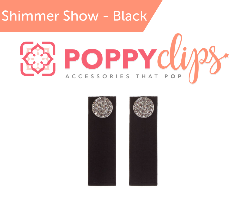 PoppyClips Accessory Black, Silver, Crystal,