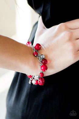 Bracelet: Wanderlust For Life - silver with Red Beads | Paparazzi Jewelry