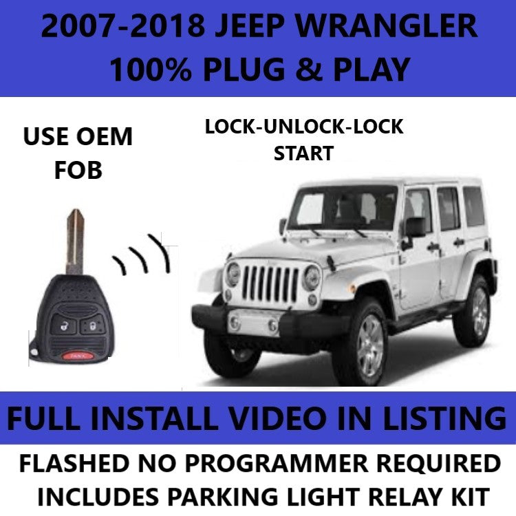 Plug and Play Remote Start for 2007-2018 Jeep Wrangler