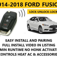 Plug and Play Remote Start Fits 2014-2018 Ford Fusion No Horn Honk Activation