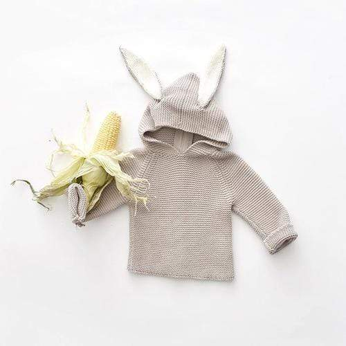 'Bunny' Knit Pullover Hoodie in Light Grey