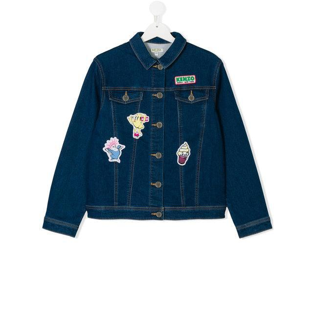 'Food Fiesta' Button Up Denim Jacket in Indigo