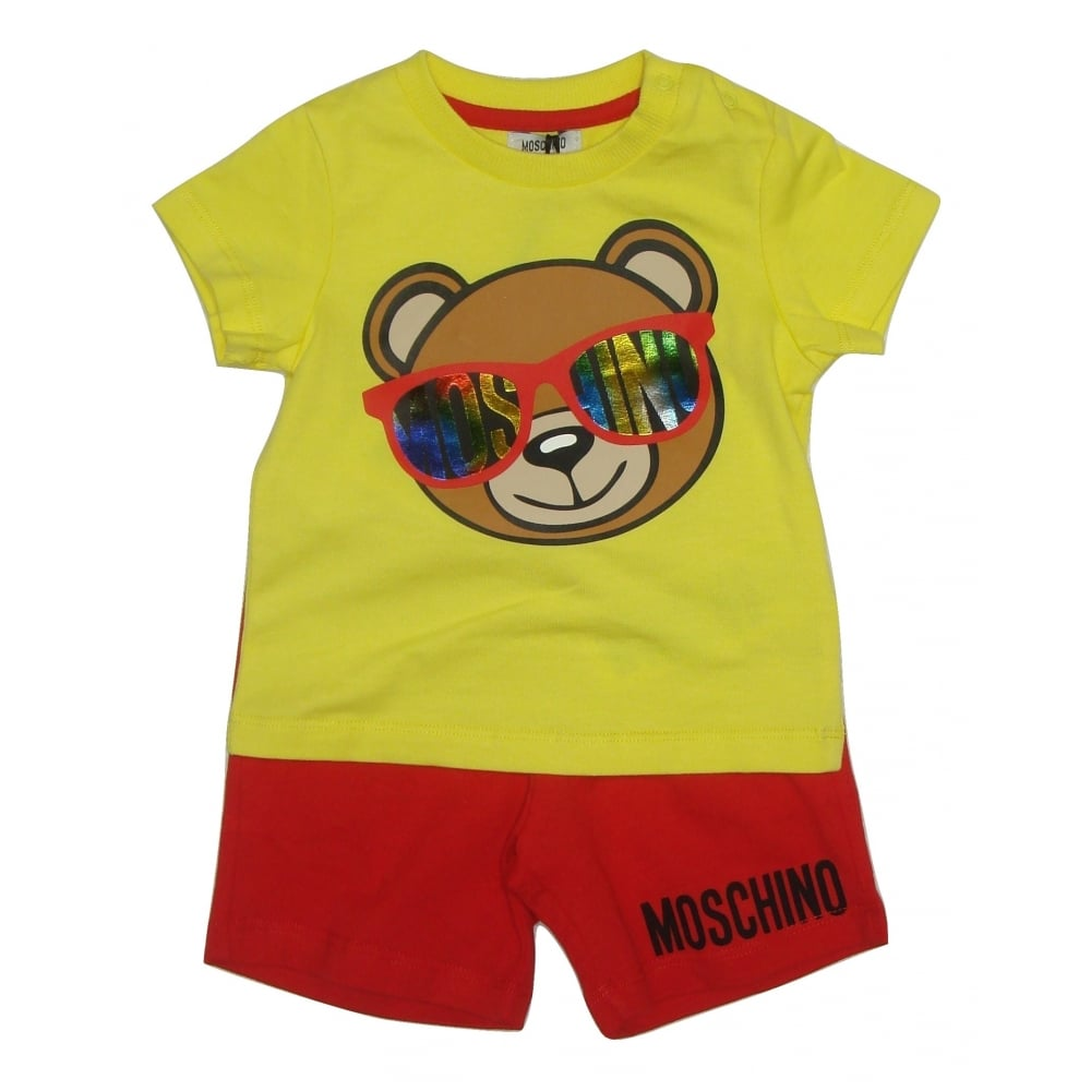 Moschino Baby Boys Yellow and Red T Shirt and Shorts One Piece