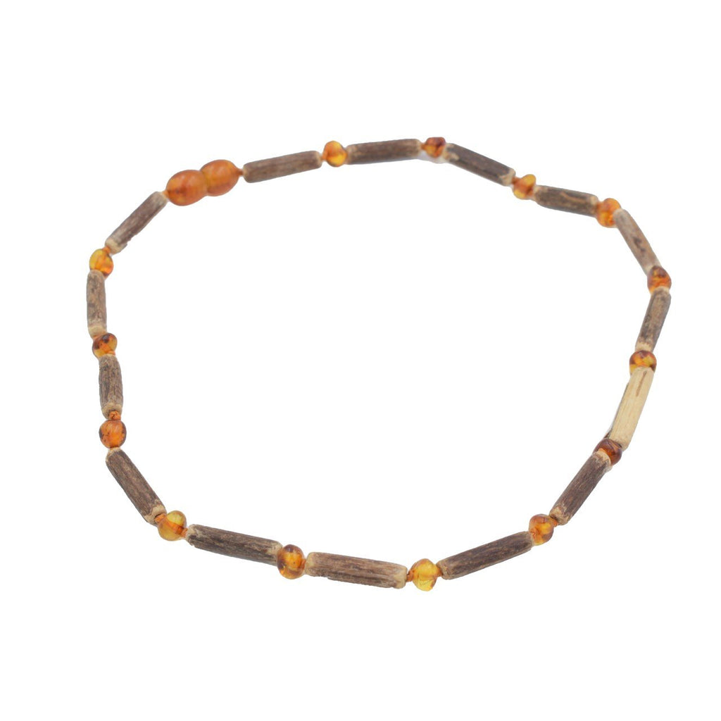 Hazelwood & Polished Cognac Amber Necklace, 32cm