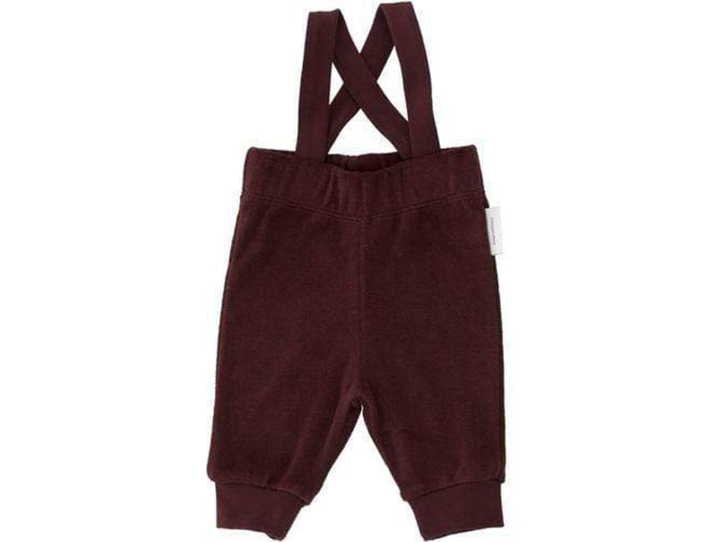 'Solid' Fleece Overall Braces Pants in Plum
