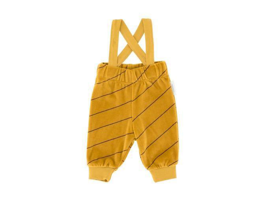 'Diagonal Stripes' Plush Overall Braces Pants in Mustard