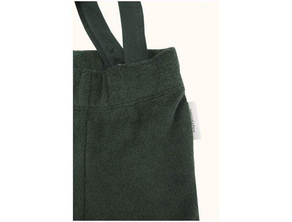 'Solid' Fleece Overall Braces Pants in Dark Green