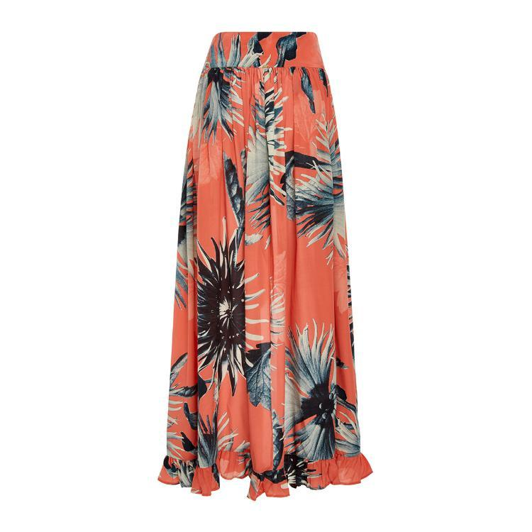 'Maxi Flower' Maxi Skirt with Slit in Coral