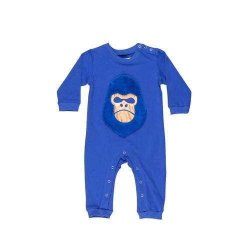 'Gorilla' Long Sleeve Romper in Blue