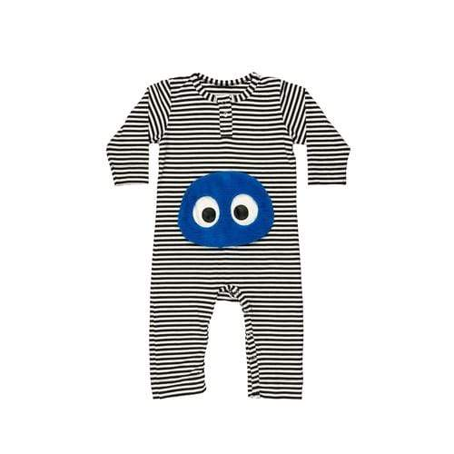 'James Baby' Long Sleeve Romper in Black and White Stripes