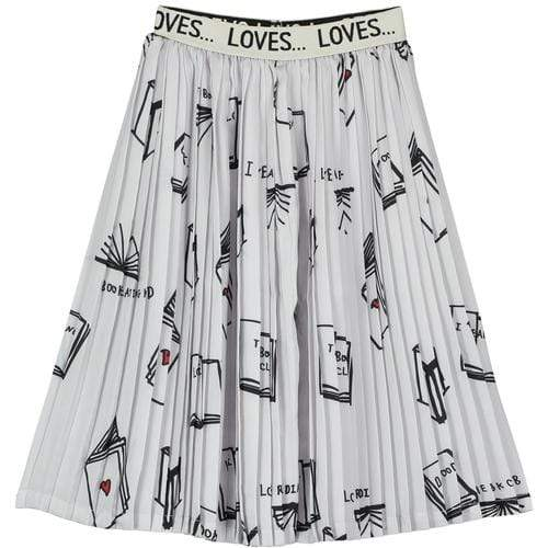 'Books' Pleated Skirt In Pale Grey/Black
