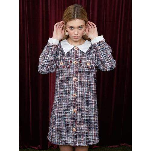 'Chapter One' Tweed Dress in Blue/Red