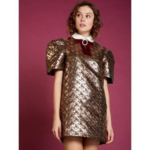 'Enigma' Box-Sleeve Dress in Gold