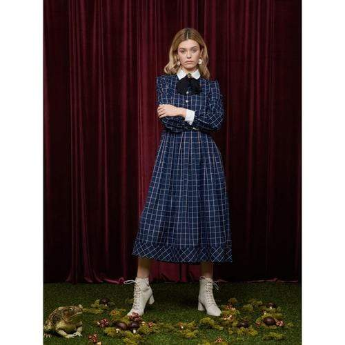 'Fables' Midi Dress in Navy Blue Tartan