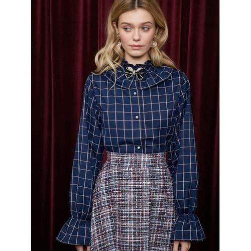 'Fables' Blouse in Navy Blue Tartan