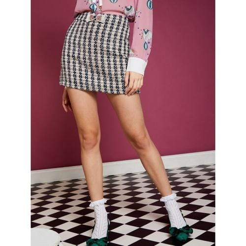 'Jules' Tweed Mini Skirt in Black/Cream