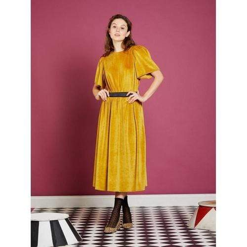'Luminus' Backless Midi Dress in Spicy Mustard