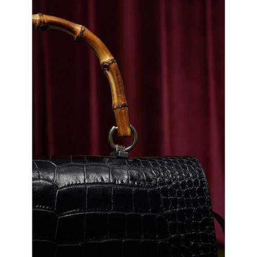 'Melodrama' Bamboo Satchel Bag in Black