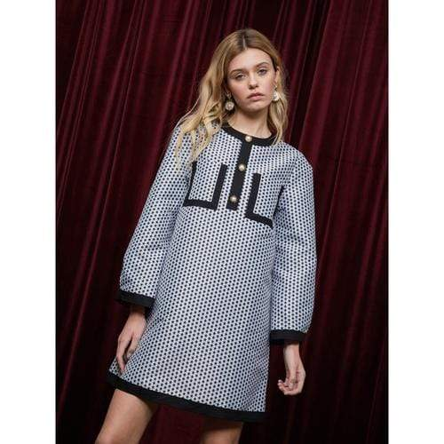 'Odd Acts' Jacquard Dress in Grey/Black