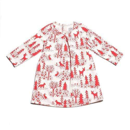 'Aspen' Baby Dress In Winter Scenic Red