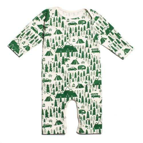 Long Sleeve Romper In Campground Green