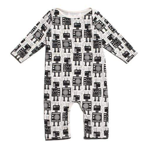 Long Sleeve Romper In Robots Black