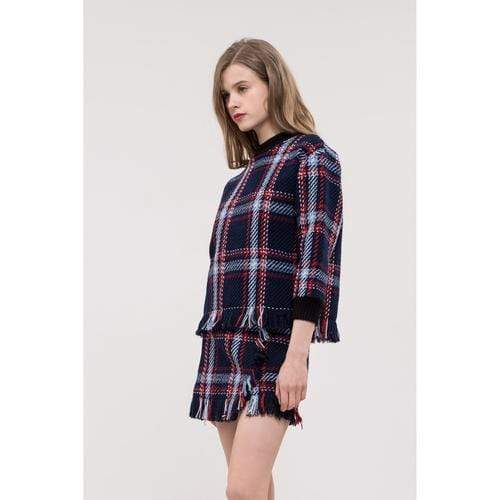 Fringed Plaid Pullover in Navy Plaid