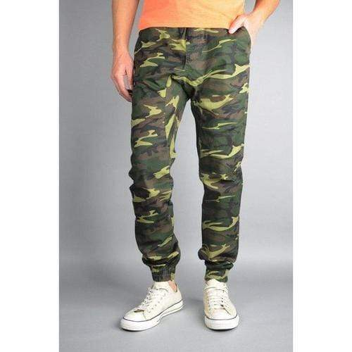 Twill Jogger Pants in Camo Green