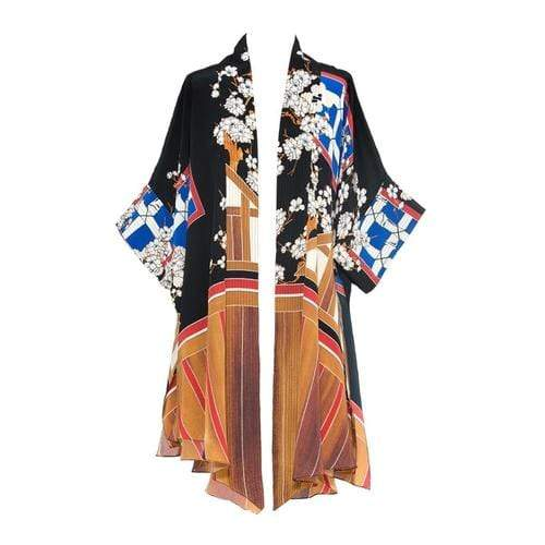 Cottage Runway Kimono In Black Multi