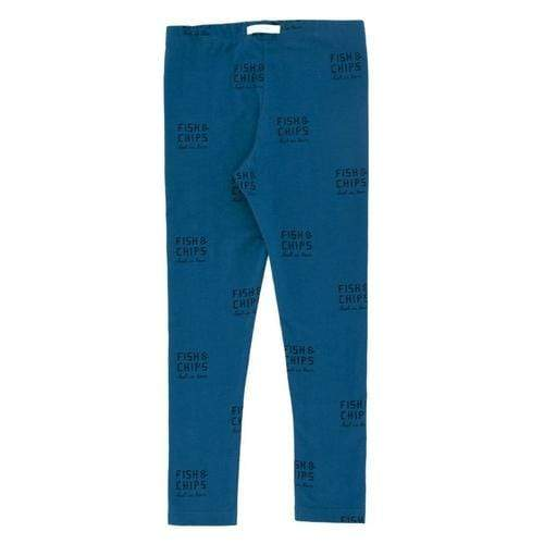 """Fish and Chips"" Print Legging Pants in Navy"