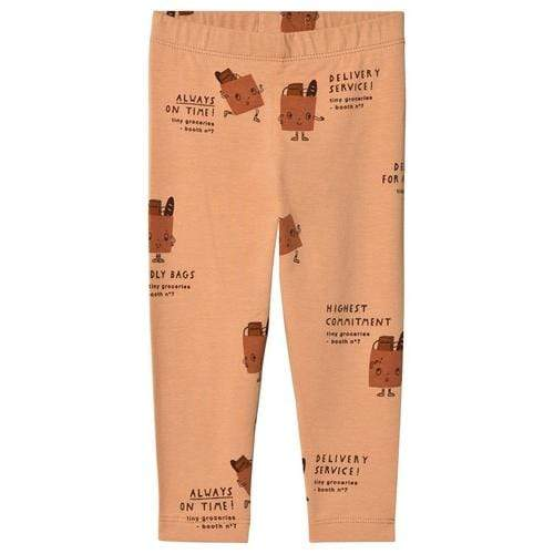 'Friendly Bags' Print Legging Pants in Dark Nude