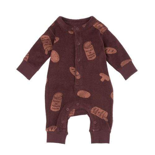 'Groceries' Print Long Sleeve Towel Romper in Plum