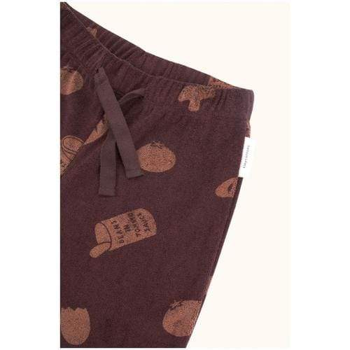'Groceries' Print Towel Sweat Pants in Plum