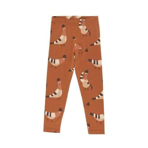 'Pigeons' Print Legging Pants in Brick