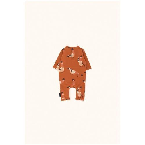 'Pigeons' Print Long Sleeve Romper in Brick