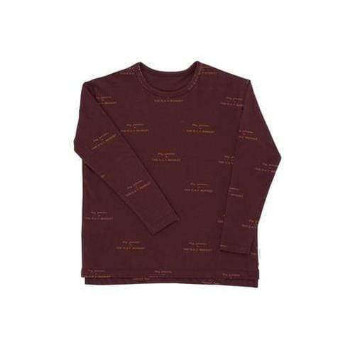 'Tiny Groceries' Print Long Sleeve Relaxed Shirt in Plum