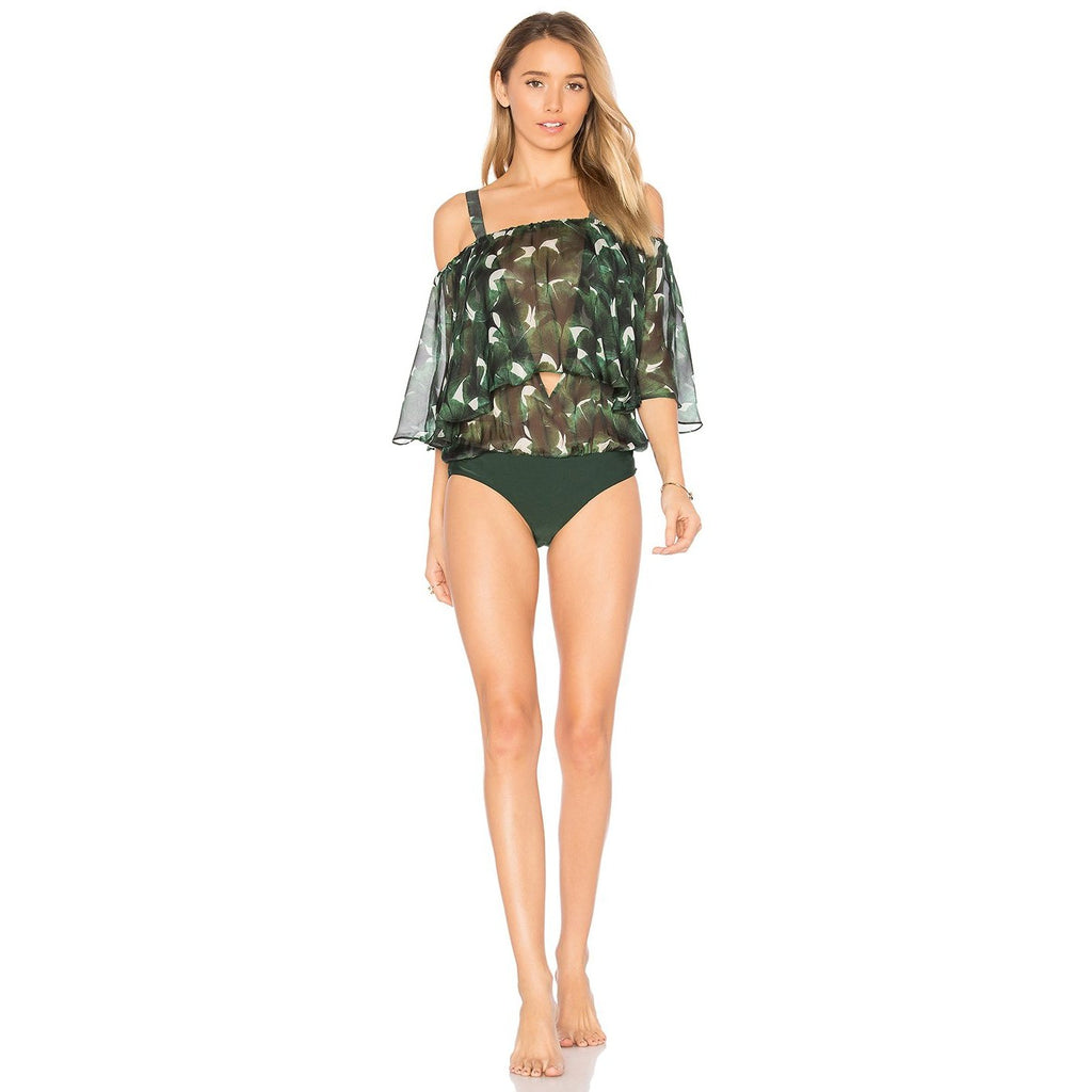 'Ginkgo' Off The Shoulder Bodysuit with Leaves Detail in Green